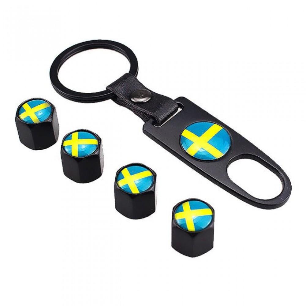 Ventilhattar flagga Sverige 4st + Nyckelring